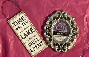 Time Wasted At The Lake Is Time Well Spent Wooden Sign and Silver Plastic Frame