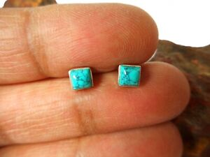 Small Square Blue TURQUOISE  Sterling  Silver  925 Gemstone Stud Earrings - 4 mm