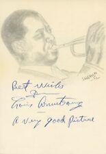 """Louis """"Satchmo, Satch, Pops"""" Armstrong SIGNED PORTRAIT Drawing (JAZZ) (TRUMPET)"""