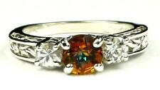 925 Sterling Silver Engagement Ring, Twilight Fire Topaz w/ Accents, SR254