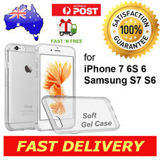 iPhone 7 6 Plus Samsung S7 S6 Edge Crystal Clear Case Silicone Rubber Gel Cover