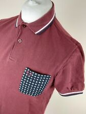 Mens Fred Perry X Drakes Twin Tipped Polo Shirt Maroon Red Medium 40 Chest Vgc