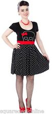 130282 Black Red Hunny Lulu Dress Sourpuss Pinup Retro 50s Punk Skull Bow LARGE
