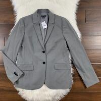 J Crew Mercantile Women's Size 12 Gray Classic Work Blazer Jacket Two Button