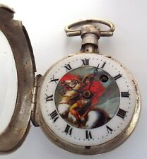 RARE SILVER PICTURE DIAL OF NAPOLION ON MARENGO VERGE FUSEE WATCH SQUAR PILLARS