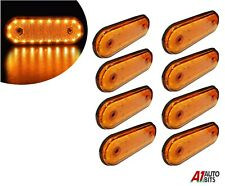 12v Led Oval Clearance Amber Side Marker Lights Position Truck Trailer Lorry X8