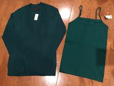 NWT The Limited Thin V-Neck Jade Green Sweater & Camisole Tank Set Size Small