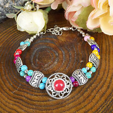 HOT Free shipping New Tibet silver multicolor jade turquoise bead bracelet S81B