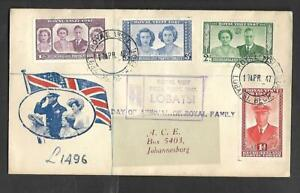 BECUANALAND, 1947 ROYAL VISIT, ILLUSTRATED REGISTERED FDC. TO S.AFRICA.
