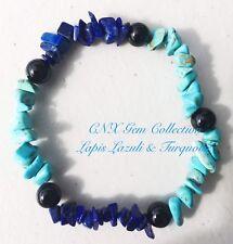 Gemstone Crystal Turquoise Lapis Lazuli Chipstone N Onyx Beads Stretchy Bracelet