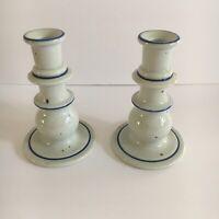 Dansk International Blue Mist Porcelain Candle Holders Candlesticks Japan