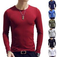 Autumn Men's Simple Casual Long Sleeve Slim tee shirt O neck V neck T-shirt Tops