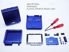 GameBoy Advance SP Bleu Foncé Marine GBA Case Boîtier Shell Housing Outils Autocollant