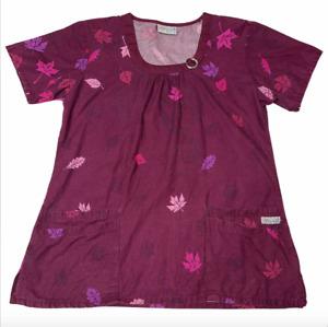 UA Uniform Advantage Fall Autumn Leaves Sparkle Accent Size Medium Scrub Shirt