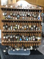 Vintage Wood Souvenir Rack and Spoon Collection Lot 66 - Several Very Unique !!