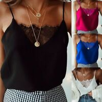 Womens Lace Crop Top Sexy Vest Fashion Camisole Sleeveless Tank Top T-Shirt ER