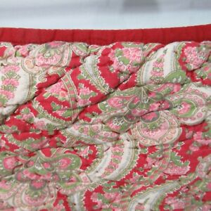 Pottery Barn Georgia Paisley 2 Quilted Standard Pillow Shams Red Maroon Green