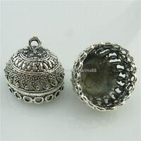 18670 6pcs Vintage Antique Silver Filigree 21mm Beads Cap Tassels End Pendant
