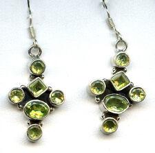 """Peridot and sterling Silver Dangle Cross Earrings  8gr w/ hook 1.25 x 5/8"""" 3215D"""