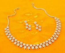 86 Indian Fashion Jewelry Bollywood Bridal American Diamond Necklace Earring Set