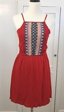 THML Stitch Fix Women's Dress Alameda Red Embroidered Short Boho Sz Small
