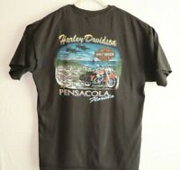 Harley Davidson Mens 2XL Black Shirt Pensacola Florida Short Sleeve 2002 EUC