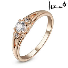 18K Rose Gold Plated Genuine Austrian Engagement Ring