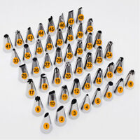 48Pcs Stainless Icing Piping Nozzles Pastry Tips Set Cake Decorating Baking Tool