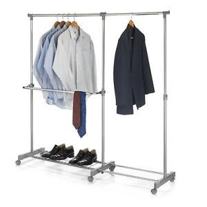 Portant à vêtements penderie sur roulettes hauteur largeur réglable chromé gris