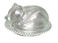 """Indiana Glass Company Candy Dish Sleeping Cat Clear Beaded Edge 8"""" Vintage"""