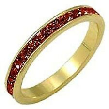 18K GOLD EP RUBY ROUND ETERNITY RING  size 5 - 10 you choose
