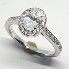 Sterling Silver high polished white Topaz oval shape wedding ring 3.1 gram