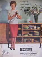PUBLICITÉ DE PRESSE 1961 DURALEX VAISSELLE ET BOCAUX - ADVERTISING