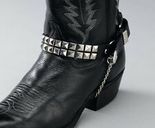 Set of 2 SQUARE STUDS LEATHER BLACK BOOT CHAINS 17405 new western accessories