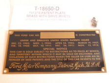 Ford Model T Brass Patent Number Plate 1913-1916 STAMPED