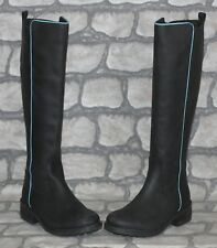 New Boden Black Nubuck Leather Knee High Riding Military Goth Boots 5 38 Tall