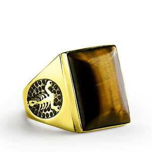 Scorpion Ring for Men in 10K SOLID GOLD with Natural Brown Tigers Eye Gemstone