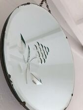 Vintage Mirror art deco Bevelled Frameless Etched mirror Berry Mirror