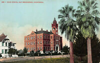 High School, San Bernardino, California, Early Postcard, Unused