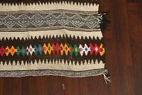 "Geometric Tribal Gray Authentic Moroccan Oriental Runner Wool Rug 10' 8"" x 4' 5"""