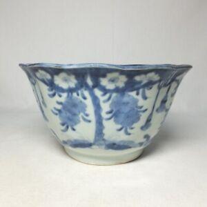 E0281: Real Japanese OLD KO-IMARI blue-and-white porcelain ware deep bowl