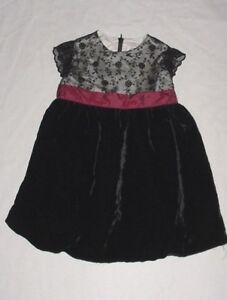 EUC Gymboree Girls VICTORIAN CHARM Black Velvet Lace HOLIDAY Dress 12-18 M