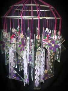 Japanese Glass Wind Chime  LARGE Vintage style VIOLET ORCHIDS WISTERIA LILAC