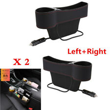 2Pcs Black PU Leather Dual USB Car Seat Gap Organizer Storage Boxes Cup Holder