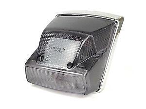 Vespa PX Disc 125 150 200 Rear Brake Light - Smoked Black Lens Chrome Surround