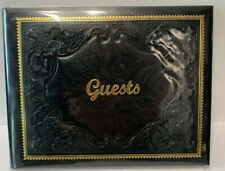 Black Italian Leather Bound Guest Book Embossed with Gold Accents Handmade