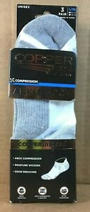 Copper Fit 3 PAIR Ankle Socks Copper Infused Compression Size L/XL White/Grey