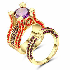 Princess Amethyst /red CZ 10KT Yellow Gold Filled Women's Wedding Ring Set Size8