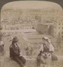 Italy. Aventine Hill & Distant Alban Mountains from Janiculum, Rome. Stereoview