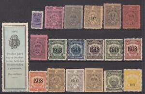 Salvador Revenues 19 diff mint stamps dated 1904//1919